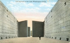 The Big Lock In Lake Washington Canal (SwellMap) Tags: postcard vintage retro pc 30s 40s 50s 60s thirties forties sixties fifties roadside midcentury atomicage nostalgia americana advertising street car linen design style architecture building