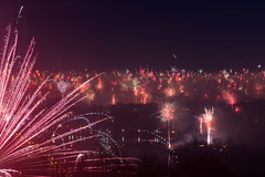Supermoon meets Fireworks (Tobi Becq) Tags: regensburg supermoon supermond silvester feuerwerk fireworks new years eve ratisbon nightscape cityscape longexposure longtime