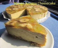 Mango Banana Cheesecake (nadjadejong) Tags: food cooking cooked homemade dessert sweet mango banana cheesecake gelatin grapes honey sugarfree