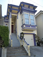 San Francisco, CA, Noe Valley, Victorian House (Mary Warren 13.5+ Million Views) Tags: sanfranciscoca noevalley architecture building house residence victorian blue stairs garage windows raling