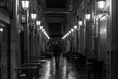 go your own way / guiding lights (Özgür Gürgey) Tags: 2016 24120mm bw d750 darkcity nikon alone architecture indoor lines llghts lowlight night people street symmetry istanbul turkey