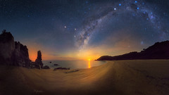 Misty Frequencies (kane.hartill) Tags: abel tasman nz sea night moonrise galaxy astro nightscape seascape coast rocks stars curves beach golden panorama d750 sand composition newzealand