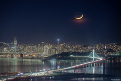 Waxing Crescent Moon (davidyuweb) Tags: moon waxing crescent waxingcrescentmoon sanfrancisco sanfranciscolucky snapshot grizzly peaks berkeley sfist