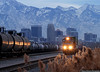 Where the Golden Hour Meets the Blue Hour (jamesbelmont) Tags: railway unionpacific northyard saltlakecity utah emd sd70m iscog bluehour wasatchmountains sundown