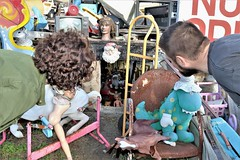 "Heidelberg Project: ""Santa's Workshop"" (Jan Nagalski) Tags: art publicart streetart outdoorart controversial controversy bizarre unique unusual strange heidelbergproject detroit abandoned decay urban city urbandecay destruction michigan jannagalski jannagal perspective miniature overtheshoulder viewpoint sarcasm tongueincheek satire santaclaus blacksanta girl curlyhair boy dolls junk foundobjects santa whitesanta man woman beardedman"