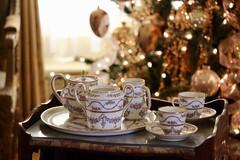 Tea Time (Read2me) Tags: cye newportmansions christmas teacup porcelain china white dof bokeh lights thechallengefactorywinner ge tray pot thumbsupwinner pregamesweepwinner tablesetting pregameduelwinner friendlychallenges