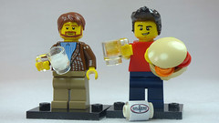 Brick Yourself Custom Lego Figures Mates with Beer, Burger, Football & Glass of Milk