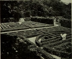 Allerton Park Iron Formal Maze Garden atop wall top walk, Monticello, IL 1951 (RLWisegarver) Tags: piatt county history monticello illinois usa il