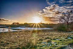 The going Down of the Sun (Alanchippyh) Tags: sun trees grassland watersunlight clouds black brown outdoors orange sky over water