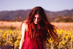 Eleonore (LiGinn) Tags: redhead portfolio portrait model shooting shoot modeling red hair redhair 50mm photography photo moments beautiful girl redgirl sunflowers fields tuscany italy