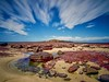 Rock pool (jack eastlake) Tags: beaches wild 819 secs f71 nikkor1735mm nikond810 lee big stopper far south coast nsw pambula ben boyd national park bega valley shire council haycock point geology rock pool volcanic red siltstone sandstone sunseaclouds sun sea clouds