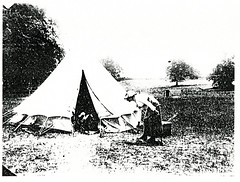 Black and White Photograph of Military Camp at Fort Lytton, Brisbane (Queensland State Archives) Tags: brisbane fortlytton military encampment queensland historicbuildings tent camp woman