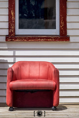 Red Chair (Russ Dixon Photography) Tags: russdixon russdixonphotography newzealand newplymouth taranaki abstract red chair abandoned fujixe2