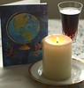 Je vous souhaite à tous / I wish everyone (Traveling with Simone) Tags: année year wishes happiness health vœux bougie candle card carte vin wine glass verre