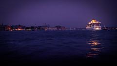 Riflessi in laguna... (Enrico Piolo) Tags: luci riflessi nave crociera laguna venezia piazza san marco tramonto blu