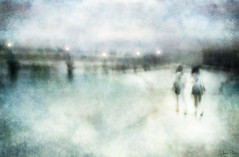 moments in time . . . (YvonneRaulston) Tags: singapore beach friends friendship lights water watercolour girls people bridge jetty pier sand wharf sunset sundown dusk atmospheric art creativeartphotography calm clouds colour canon dream emotive texture peaceful fineartgrunge soft glow icm light lady lamp moody moments photoshopartistry path surreal sea women
