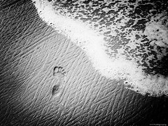 Foot in the Sand (C.A.Photogenics) Tags: water sony a7r a7rii sea sun footprint bw portugal algarve contrast dark light clarity calm relax thought black white holiday walk hike
