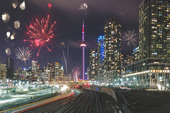 Happy New Year!!!! (A Great Capture) Tags: agreatcapture agc wwwagreatcapturecom adjm ash2276 ashleylduffus ald mobilejay jamesmitchell toronto on ontario canada canadian photographer northamerica torontoexplore happynewyear newyear 2018 year new fireworks fire works winter l'hiver city downtown lights urban night dark nighttime cold snow weather cityscape urbanscape eos digital dslr lens canon 70d photoshop vibrant colorful cheerful vivid bright architecture architektur arquitectura design streetphotography streetscape street calle depthoffield dof exposure station union cn tower train trains rail feuerwerk skyline towers railway view