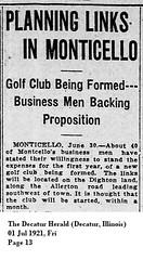 Golf Course Planned in Monticello, IL 1921-07-01 (RLWisegarver) Tags: piatt county history monticello illinois usa il