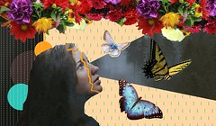 Concentration #4 (jillian-allen) Tags: illustrator photoshop flowers butterfly nature collage girl imaginary creative colorful c18
