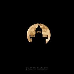 January Super Moon ... (Anton Calpagiu) Tags: lighthouse moon wolf full super night silhouette light