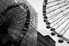 'Essen Eye', Essen, Germany (Aethelweard) Tags: essen nordrheinwestfalen germany de ferris wheel blackandwhite street reflection town city deutschland stunning