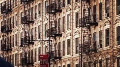 fire escapes, Harlem, NYC (MarkUStein) Tags: instagramapp square squareformat iphoneography uploaded:by=instagram lofi harlem schomburg