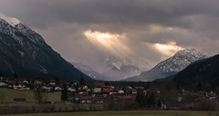 Eschenlohe Mountain View (redfurwolf) Tags: eschenlohe germany bavaria mountain panorama pano village clouds sky sun ray buildings town trees gras view outdoor nature ngc snow redfurwolf sonyalpha a99ii sal2470f28za sony