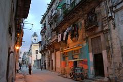Havana Vieja at dusk (againandagain251) Tags: havana cuba streetlife cyclo twilight dryingwashing oldbuildings balconies