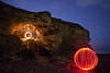 Filum Lanae (Tom Whitfield) Tags: light painting night photography wire wool spinning orb ball beach seaside coast blackhall rocks colliery north east hartlepool northumberland teesside england uk cave caving pirates dark canon 5d mkii tom whitfield chris sparrow eli dog