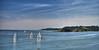I Saw Three Ships Come Sailing In . . . (suerowlands2013) Tags: plymouthsound plymouth devon yachts drakesisland cornwall earlyautumnmorning blue bluesky calmwater bluesea