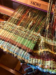 Warp ends being woven as weft. (wovenflame) Tags: weaving woven scarf warpasweft 3randomcolours guildchallenge