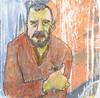 # 248 2018-01-07 (h e r m a n) Tags: herman illustratie tekening 10x10cm tegeltje drawing illustration karton carton cardboard kunst art portrait portret