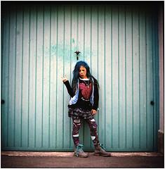 .happy 11 (Herr Benini) Tags: kiev88 analog film 120 6x6 bluehair blue hair blau blu punk birthday portrait teenager