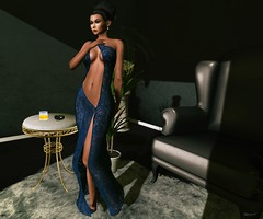 Seduce (kare Karas) Tags: woman lady femme girl girly sensual seduce seductive elegance pretty cute beauty virtual avatar events secondlife colors huds gown poses indoors city december holidays aleutia iposes posevent on9
