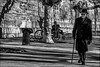 Le promeneur solitaire / Solitary walker (vedebe) Tags: humain human people homme noiretblanc netb nb bw monochrome ville city rue street urbain urban velo
