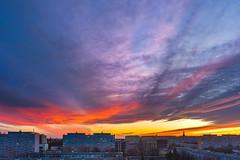 Sunset from the window (pasiak75) Tags: 2017 sigma12244556 wroclaw clouds color kolor krajobraz landscape okno sky sun sunset såoåce windows winter zima