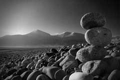 Stoned (19351) (jonathanclark) Tags: winter mono monochrome landscape rock stone stones pebble pile beach newcastle murlock nationaltrust countydown northernireland mourne mountain mountains