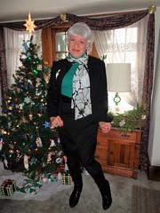 There, A Bit More Festive (Laurette Victoria) Tags: boots skirt jacket scarf silver xmas laurette woman milwaukee