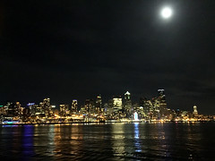 Skyline and moon (knoopie) Tags: 2017 december iphone picturemail skyline moon water seattle 2017yip project365 365project 2017365 yiipday365 day365