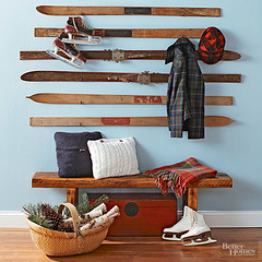 Vintage Skis as Coat Hooks (Heath & the B.L.T. boys) Tags: christmas skis iceskates bench basket vintage blanket pillow entry entrance entryway plaid evergreen pinecone hat