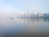 Set adrift on memory bliss (marktmcn) Tags: foggy river thames london misty morning fog mist calm little small police boat isle dogs riverside canary wharf