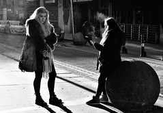 dantzic street (LozHudson) Tags: manchester fuji xt10 fujifilmxt10 people blackwhite blackandwhite mono monochrome lightshade lightshadow light shadow backlight backlit girls smoking street streetphotography northernquarter
