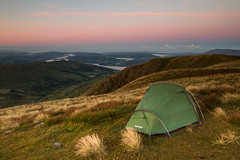 All Alone (RichRobson) Tags: wild camp sunrise red screes windermere kirkstone pass camping wildcamping canon goldenlight goldenhour stunning views lakedistrict lake district cumbria upahill room with view vango tent banshee