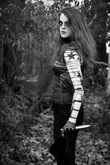 Maya as Bucky (The Winter Soldier) (Kristin Small Photography) Tags: senior highschoolsenior seniorphotographer kristinsmallphotography blackandwhite bw bucky wintersoldier captainamerica marvel avengers fall halloween costume comicon comiccon cosplay superhero