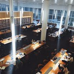 Students studying for finals in Hunt Library