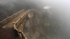 Fade To Fog (Eye of Brice Retailleau) Tags: angle beauty composition landscape outdoor panorama paysage perspective scenery scenic view extérieur path chemin camino asia china chine backpacking architecture chinese sacred mountain mountains wide hiking grey gris tourism travel montagne bridge pont cloud clouds cloudy