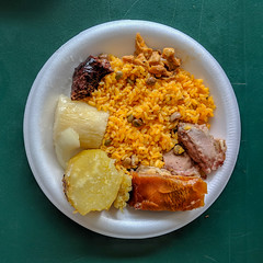 Food at El Rancho Original (3/3) (ep_jhu) Tags: pernil yuca batata puertorico foam roasted pr plate morcillas lechón arrozcongandules pork pig pixel2 comida food rice google guavate caguas cayey