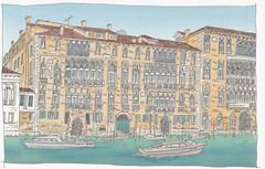 Italy, Venice, Palazzo Giustinian and Ca' Foscari (pirlouit72) Tags: italie italy venise venice sketch drawing dessin croquis urbansketch urbansketcher urbansketchers carnetdevoyage unesco