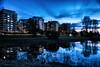 Reflection (Maria Eklind) Tags: horizon ribersborg nature reflection spegling sweden outdoor dusk ribban ocean malmö twilight öresundsparken sky öresund water building horisont himmel skånelän sverige se